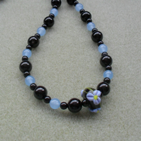 Handmade Lampwork Glass Bead with Black Agate and Blue Quartz Necklace