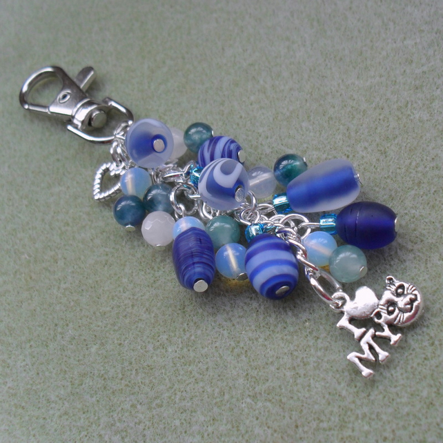 I Love My Cat Bag Charm Shades Of Blue