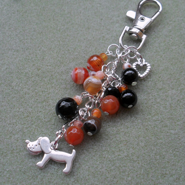 Dog Bag Charm With Agate Semi Precious Gemstones