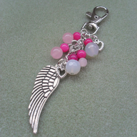 Angel Wing Feather Bag Charm Pink and Silver