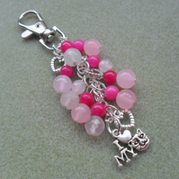 Cat Bag Charm Silver Tone With Heart Charms