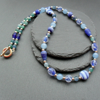 Blue Necklace With Quartz and Glass Beads Champagne Gold Plated