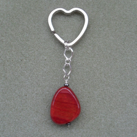 Red Agate Heart Shaped Keyring