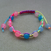 Multi Coloured Rainbow Macrame Bracelet