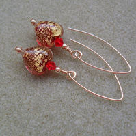 Red Venetian Murano Glass Gold Filled Heart Earrings