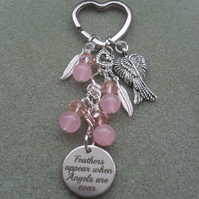 Angel Feathers Keyring With Pink Quartz Beads and Crystals