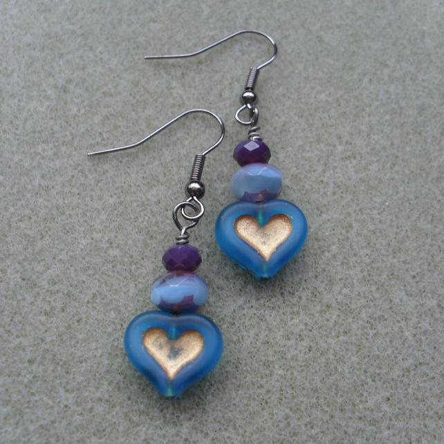 Blue Heart Dangle Earrings Czech Glass Vintage Earrings