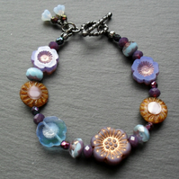 Purple and Blue Czech Glass Flower Bracelet Black Tone