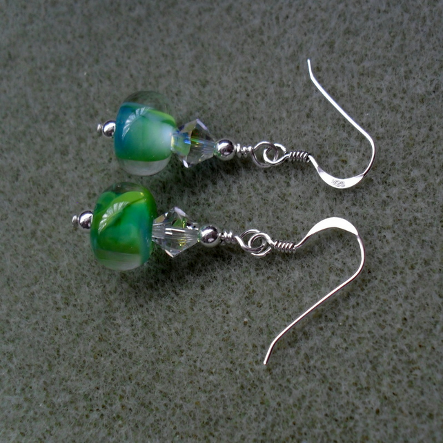 Handmade Lampwork Glass Beads With Swarovski Crystal Sterling Silver Earrings