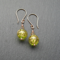 Rose Gold Vermeil Murano Green Glass Earrings With Swarovski