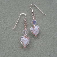 Rose Gold Vermeil Murano Glass Heart Earrings