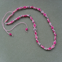 Pink Macrame Necklace With Semi Precious Gemstones