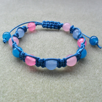 Blue and Pink Macrame Bracelet With Semi Precious Gemstones