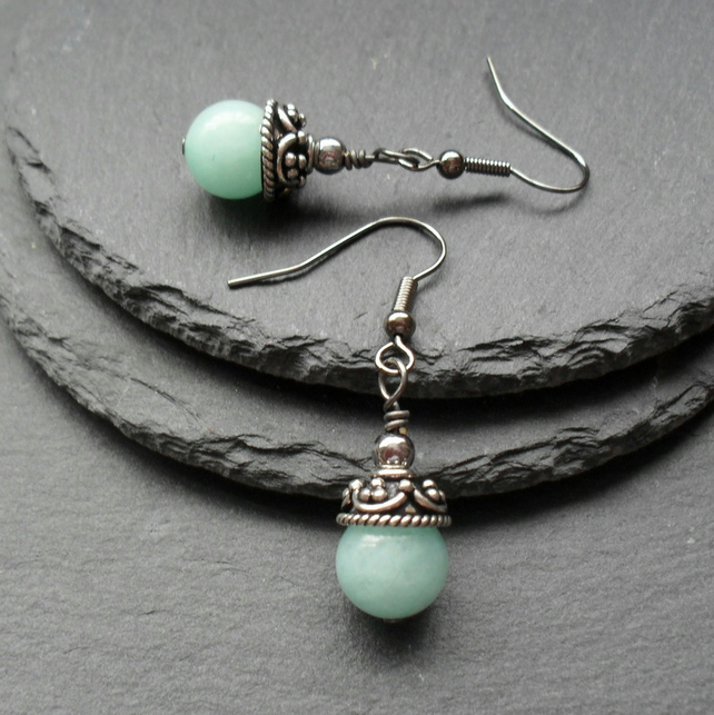 Aqua Quartzite Earrings Black Tone Drop Earrings