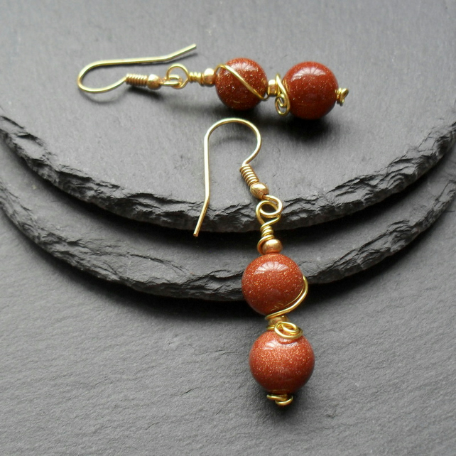 Brown Goldstone Gold Plated Drop Earrings