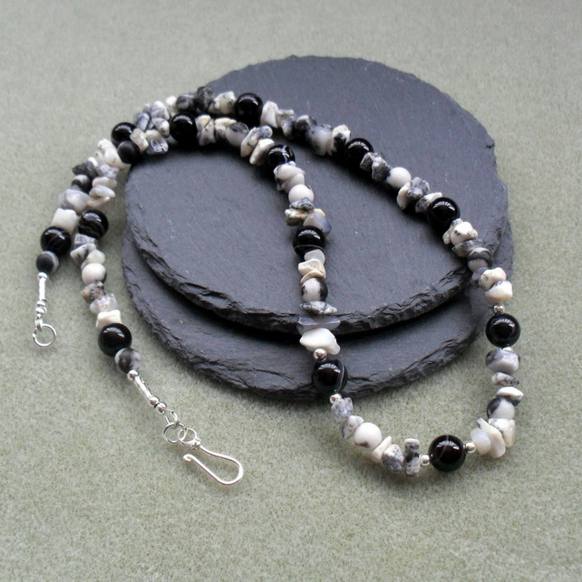 Dendrite Opal and Black Agate Sterling Silver Necklace