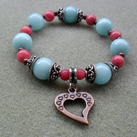 Semi Precious Gemstone Stretch Bracelet in Aqua Blue and Strawberry Pink Colours