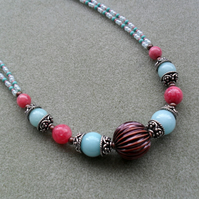 Aqua Blue and Strawberry Pink Semi Precious Gemstone  Earring and Necklace Set