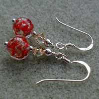 Red Murano Glass Earrings Sterling Silver With Swarovski Crystals