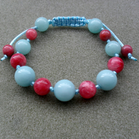 Aqua Blue and Strawberry Pink Gemstone Macrame Bracelet