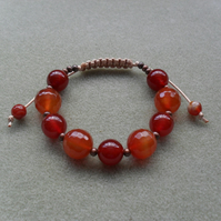 Knotted Macrame Style Bracelet With Orange Tone Agate