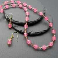 Hot Pink Dyed Quartz Gold Plated Necklace Gift For Her