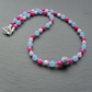 Blue,Lilac and Deep Pink Necklace With Handmade Lampwork Glass Bead