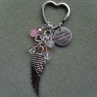 Angel Wing Keyring Silver Tone With Crystals and Semi Precious Gemstones