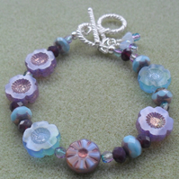 Sale Czech Glass Flower Beaded Bracelet Blue and Purple