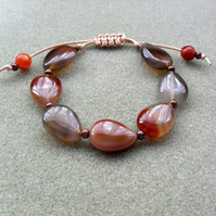 Brown Tones of Agate Knotted Bracelet Macrame Style