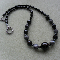 Black Onyx Agate and Lavakite Semi precious Gemstone Necklace