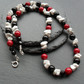 Black Onyx Howlite and Red Shell Pearl Semi Precious Gemstone Necklace