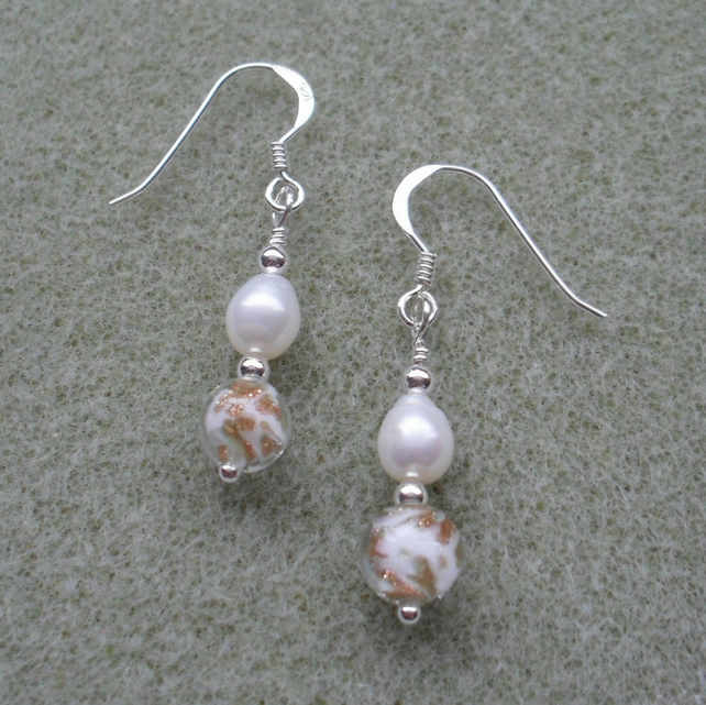 Freshwater pearls and Murano Glass Sterling Silver Earrings