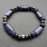 Sodalite and Haematite Stretch Elastic Bracelet