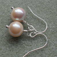 Peach Cultured Pearl Sterling Silver Earrings