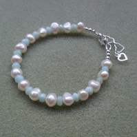 Blue Opal and Freshwater Pearls Sterling Silver Bracelet
