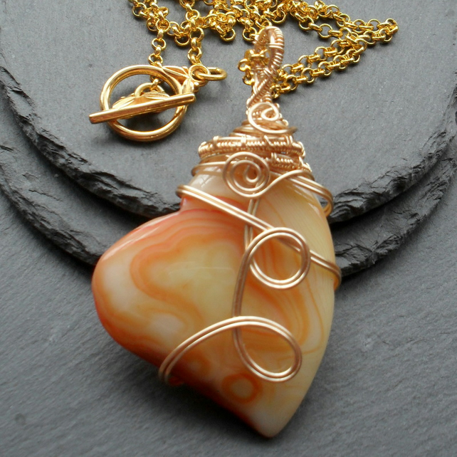 Orange Agate Heart Shaped Wire Wrapped Pendant FREE P&P IN UK