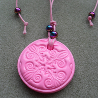 Pink Polymer Clay Pendant