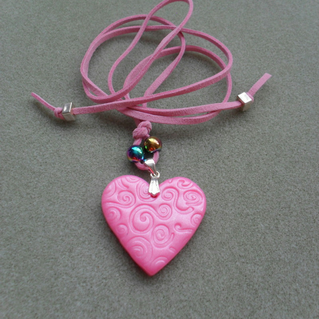 Pink Heart Clay Pendant