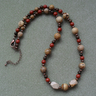 Jasper Semi Precious Gemstone Stones Antique Copper Tone Necklace