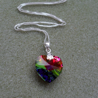 Sterling Silver Rainbow Crystal Heart Pendant With Crystal Heart From Swarovski