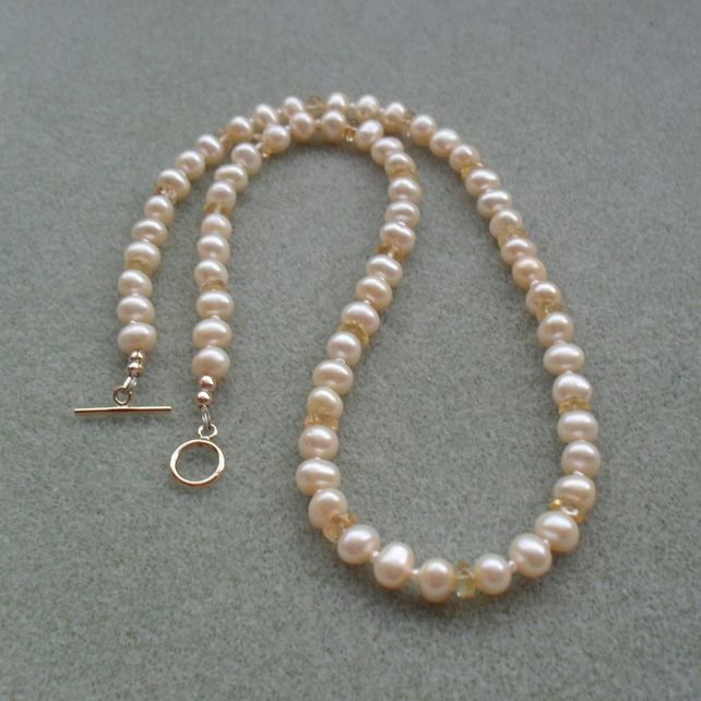 Champagne Freshwater Pearls With Citrine Gold Filled Necklace