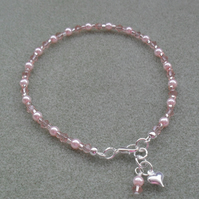 Pink Glass Pearl and Crystal Beaded Anklet FREE P&P IN UK