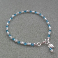 White Glass Pearls and Blue Crystal Beaded Anklet Free P&P in the UK