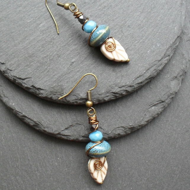 Bronze Tone Leaf Earrings Blue and Cream Colours Vintage Earrings