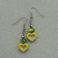 Vintage Look Green Heart Drop Earrings