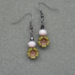 Green Flower Czech Glass Vintage Style Earrings