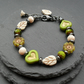 Vintage Style Czech Glass Beaded Bracelet Green Black Cream
