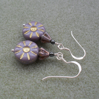 Lilac Czech Glass Sterling Silver Earrings