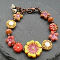 Czech Glass Flower Bead Bracelet Copper Tone Autumn Colours